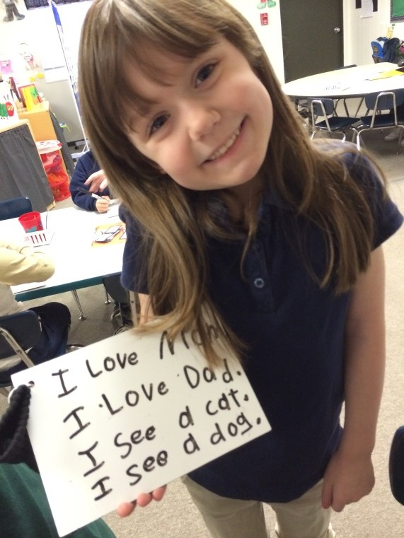 "You used such good handwriting to practice those ""heart word"" sentences. It sure is easy to read your writing. I bet you're proud of yourself!"