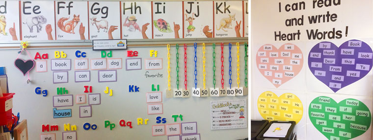 heart words in kindergarten classroom