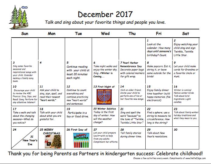 kindergarten: family learning calendars
