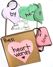 heart word templates cut out