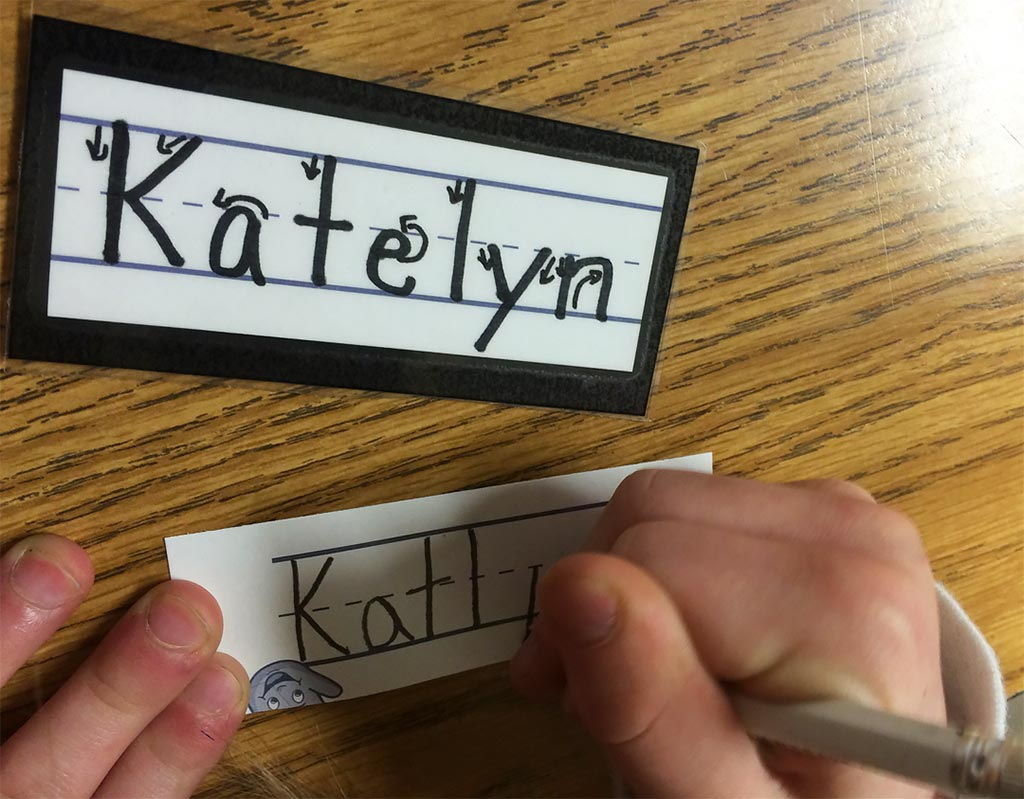 10 Kindergarten Handwriting: 1. Use a Name Ticket Model