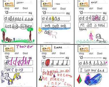 Sample Kindergarten-Friendly Handwriting, Phonics, and Word Work pages