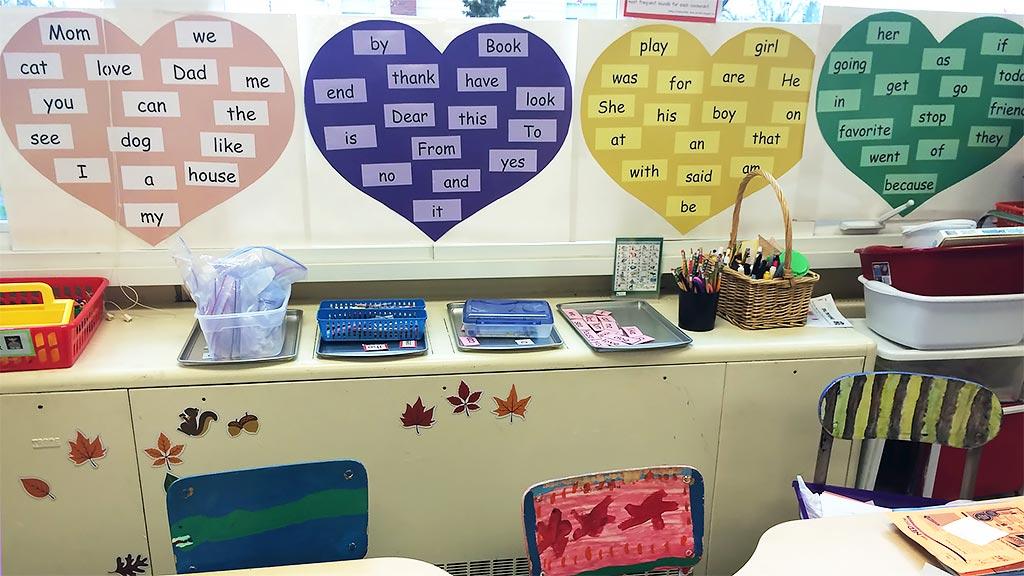 kindergarten classroom heart words posters