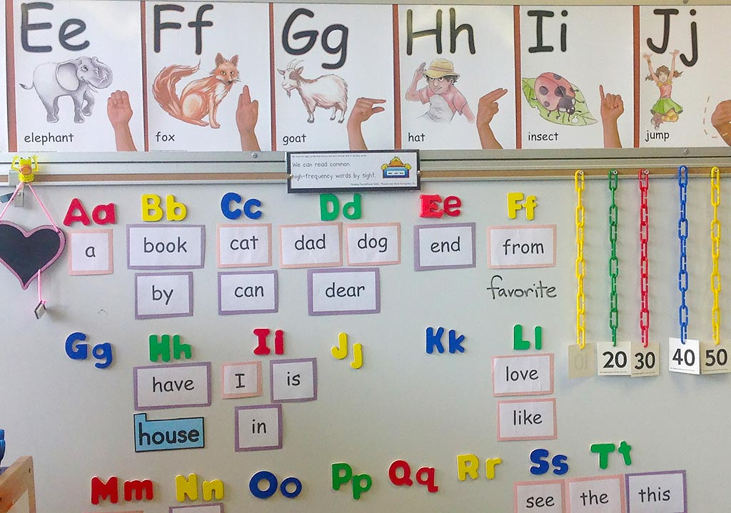 kindergarten classroom word wall