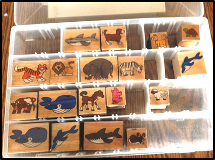 16 Wooden Animal Stamps