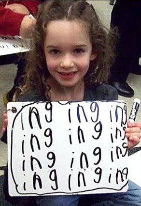 handwriting lesson - learning ing in kindergarten