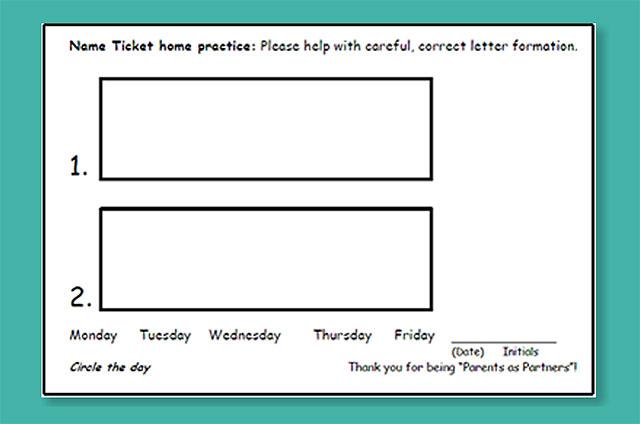Name Ticket Practice