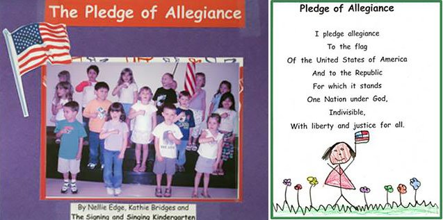 kindergartners learn the pledge