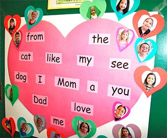 "Children learn pink and purple ""heart words."""