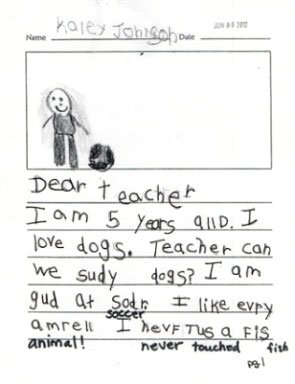 information writing in kindergarten