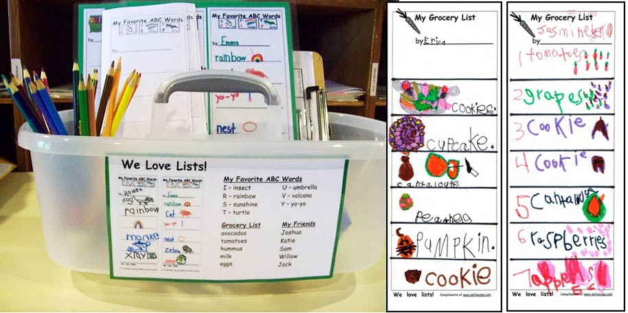 Children use labeled photos to make their own real world grocery lists!