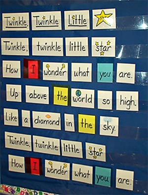 star chart for kindergarten writing lesson