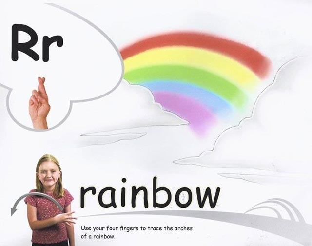 "Children sign ""rain"" and ""rainbow."""