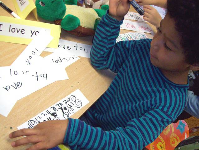 kindergartners learn purposeful writing