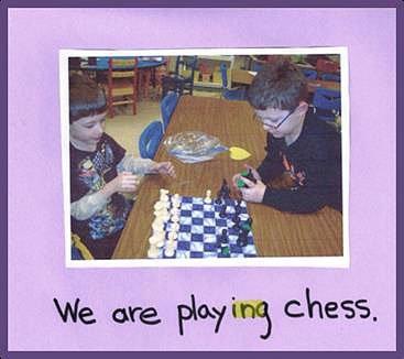 """This class book featured photos of the children """"doing"""" kindergarten activities."""