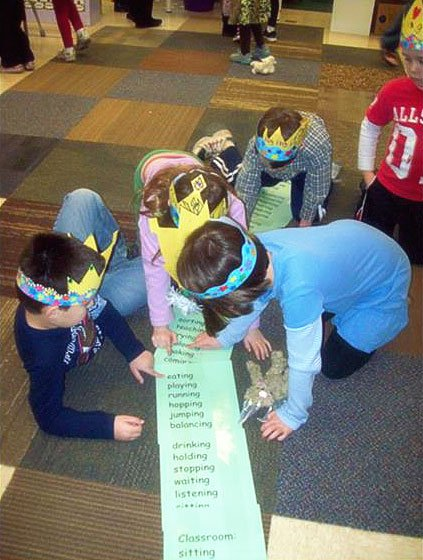 "Let's find 100 ""ing"" words: The 100th day of school is coming! (They actually found 106 ""ing"" words.)"