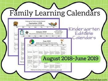 Our editable Family Learning Calendars