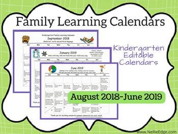 Our editable Family Learning Calendars