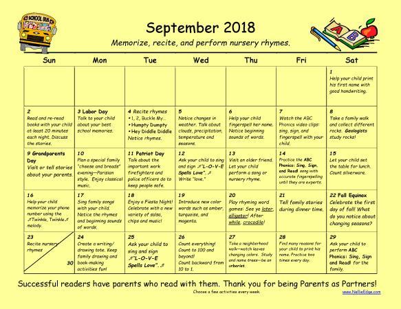 Family Learning Calendar