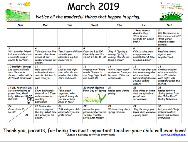 Family Learning Calendar - Kindergarten Partents - Nellie Edge Resources