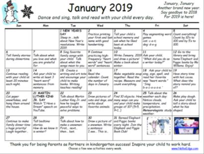 Family Learning Calendar on TpT