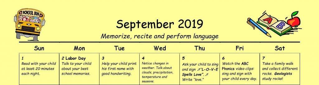 Family Learning Calendar by Nellie Edge- Kindergarten Classroom