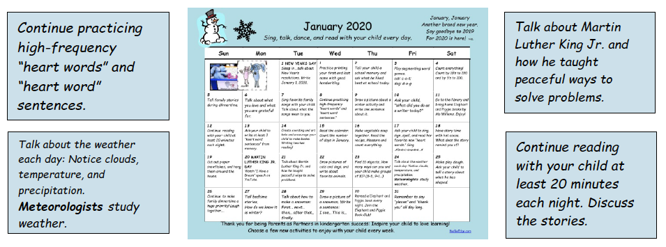 Family Learning Calendar - Kindergarten Classroom - Nellie Edge