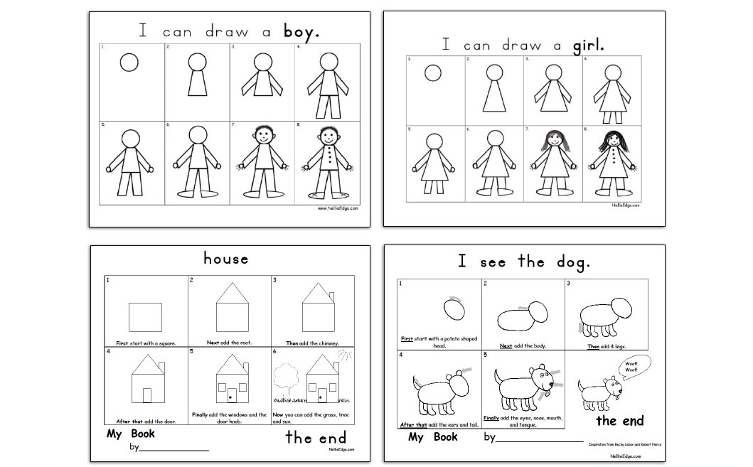Provide families with writing templates and simple drawing guides for writing at home: